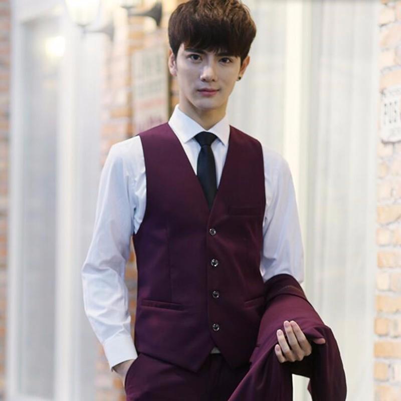 9.1haute couture men vest slim fit men wedding tuxedos vest solid color groom party dinner formal dress vest