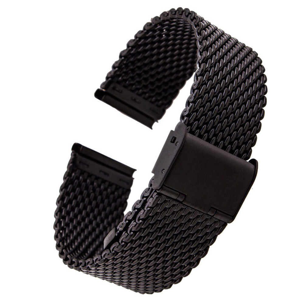 20mm 22mm Solid Milanese Mesh Stainless Steel Strap With Hook Buckle Classic Black Watch Unisex Watch Band Straps 2.0cm 2.2cm