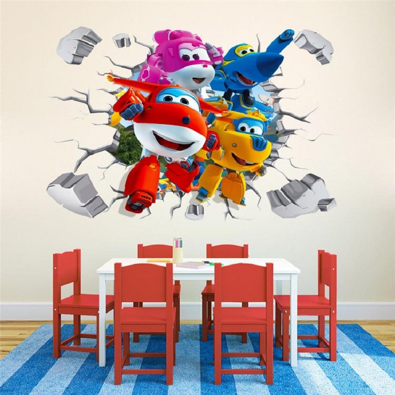 Cartoon Super Wings 3D Wall Sticker  Baby Home Decoration Anime Posters Wall Decal Art Game Wall Paper Kids Nursery|Wall Stickers|Home & Garden - title=