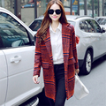 Spring Winter Medium Long Houndstooth Wool jacket Woolen Coat Overcoat Casual Trench Loose Women Outerwear Plaid Abrigos Mujer