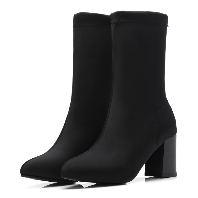 Autumn Women Sock Boots Pointed Toe Elastic High Boots Slip On High Heel Black Ankle Boots Women Pumps Square heel shoes women high quality comfort knitting thick heel ankle boots fashion slip on flower pointed toe spring autumn sock boots black