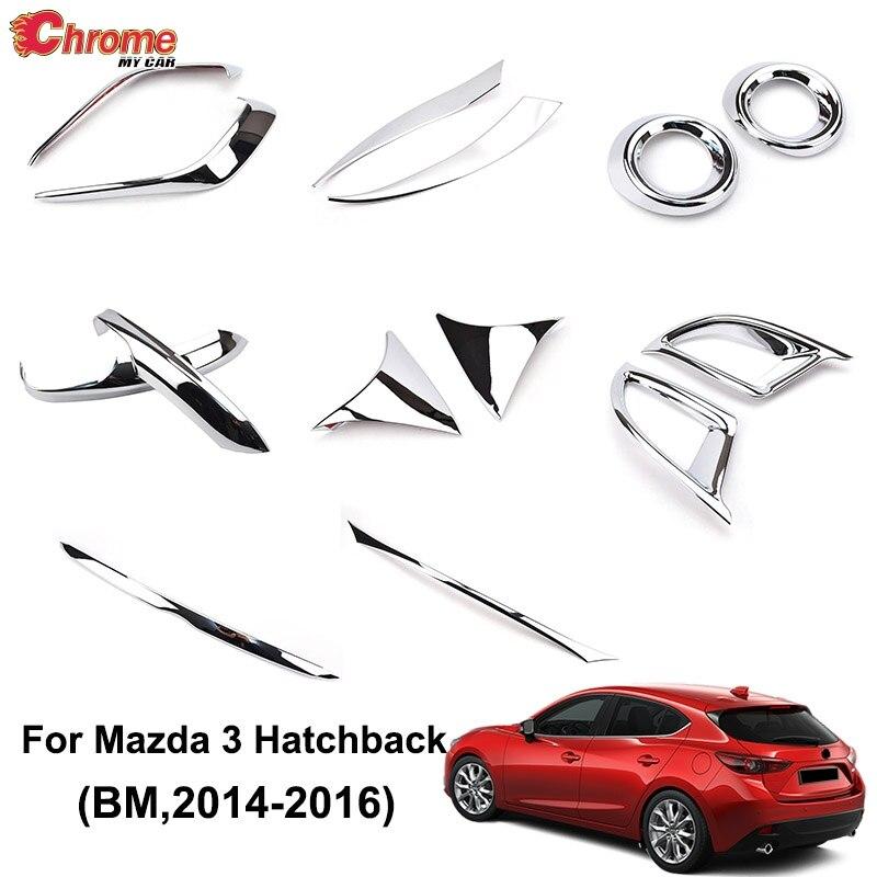Chrome Front Fog Light Lamp Eyelid Cover Trim Bezel For Mazda 3 Axela 2017 2018