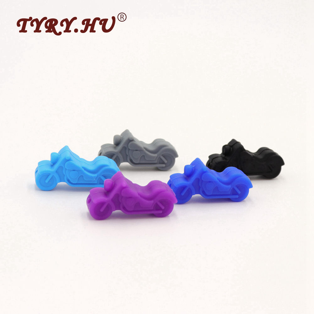 TYRY.HU 10Pcs Multicolor Motorcycle Shaped Silicone Beads BPA Free Food Grade Silicone Teether Baby Toys DIY Jewelry Accessories