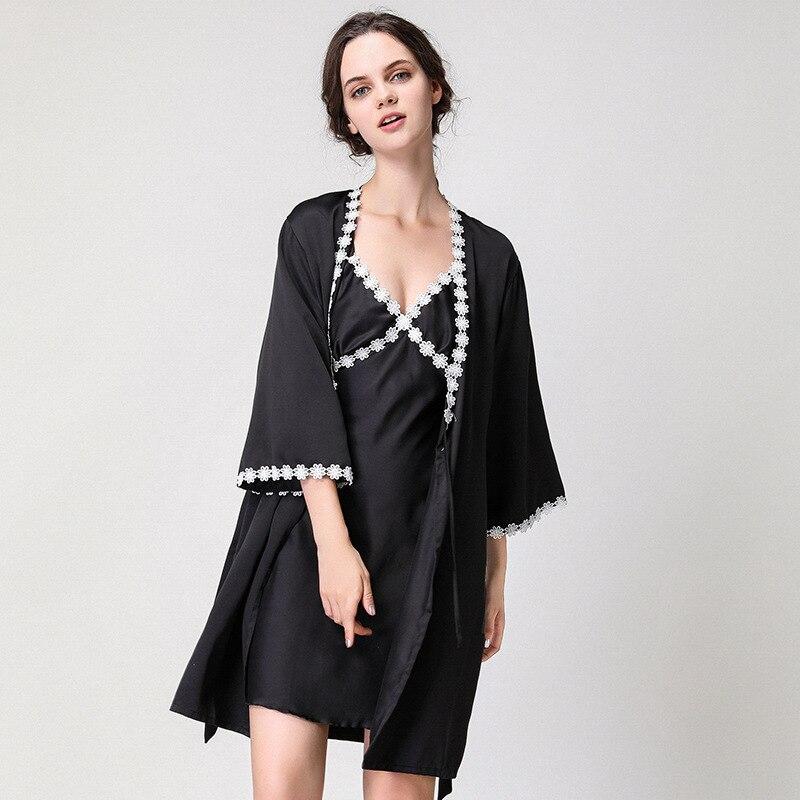 2018 Dame Rayon Satin Robe Set Sommer Kimono Bademantel Kleid Sexy Nachthemd Nachtwäsche M-xxl Floral Trim Nighty + Robe Schlaf Set 100% Garantie