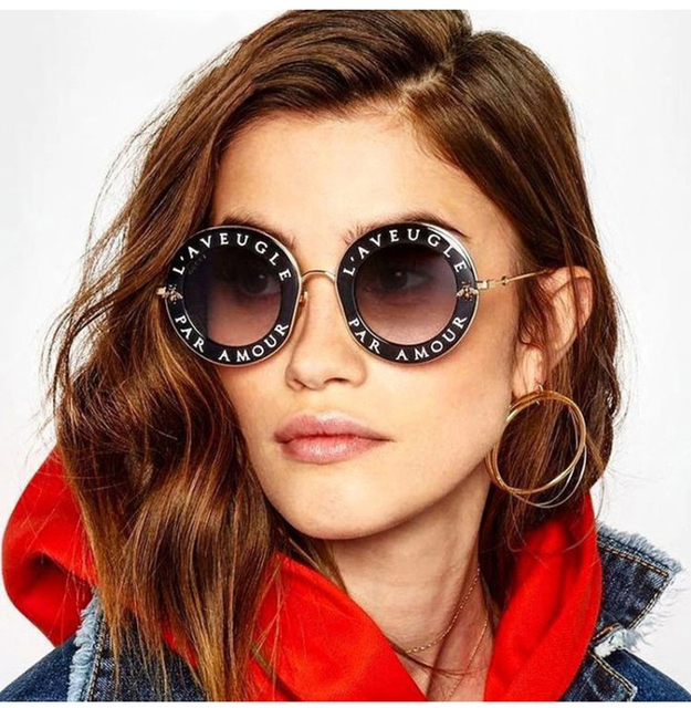 a386378757a 2018 Vintage Letters Bee Circle Round Sunglasses Men Women Brand Sunglass  Fashion Male Female Shades Retro