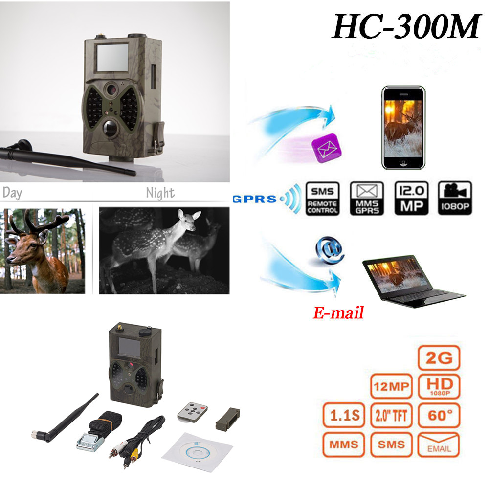 12MP 940nm NO glow Trail Cameras MMS Hunting Cameras Photo Trap Game Cameras Black IR Wildlife Cameras HC300M ltl acorn 5210a scouting hunting camera photo traps ir wildlife trail surveillance 940nm low glow 12mp