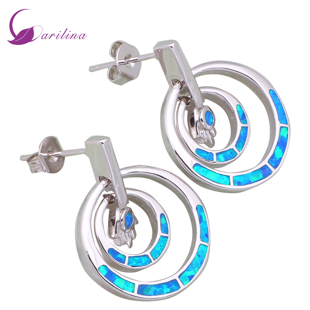 Promotion 925 Sterling Silver jewelry Blue Fire Opal earrings fashion jewelry for women E342 eiolzj white oval fire opal stone 925 sterling silver clip earrings for women bridal fashion jewelry free gift box three colors