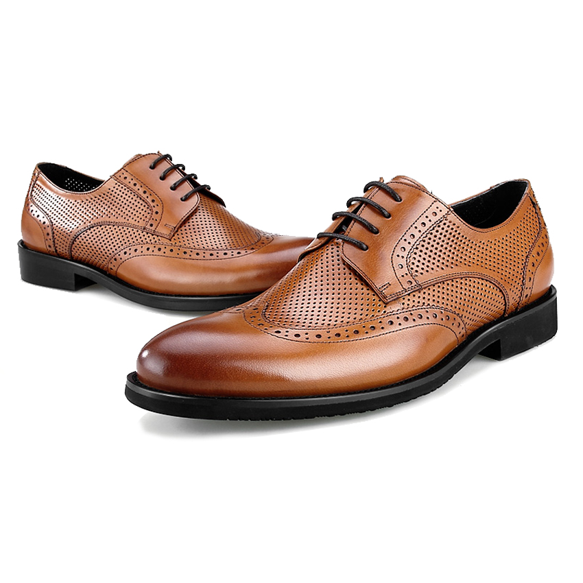 marrón Bql39 Wingtip Transpirable Verano Masculino Oficina Vestido Zapatos Auténtico Redonda Hombres Cuero Brogue Formal Oxfords Negro Británico Punta Hombre q4qRaUwI