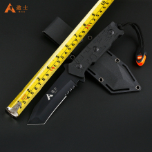 High Quality Hunting Knife Outdoor Survival Camping Knife Tactical Knife with Plastic sheath Free Shipping