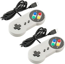 Super Game Controller SNES USB Classic Gamepad [2-Pack] for PC MAC Games for Win98/ME/2000/2003/XP/Vista/Windows7/8/ Mac os