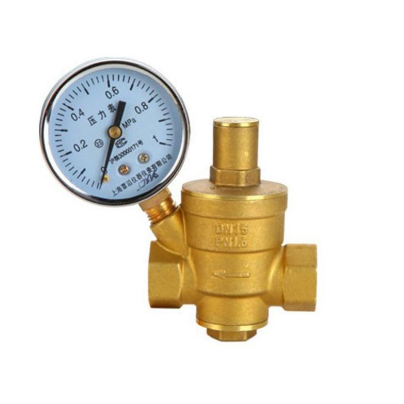 DN25 Messing einstellbar Druckminderer Ventil Wasser Druckregler mit Manometer