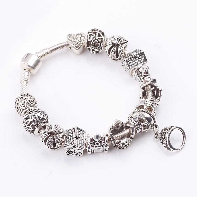 AIFEILI Hot Sell European Style Silver Crystal Charm Bracelet for Women With Crown Murano Glass Beads Jewelry Flower House