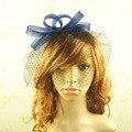 Señoras de las mujeres de gasa velo tocados flor fascinators sinamay sombreros mujeres accesorios para el cabello de novia elegante banquete de boda y carreras
