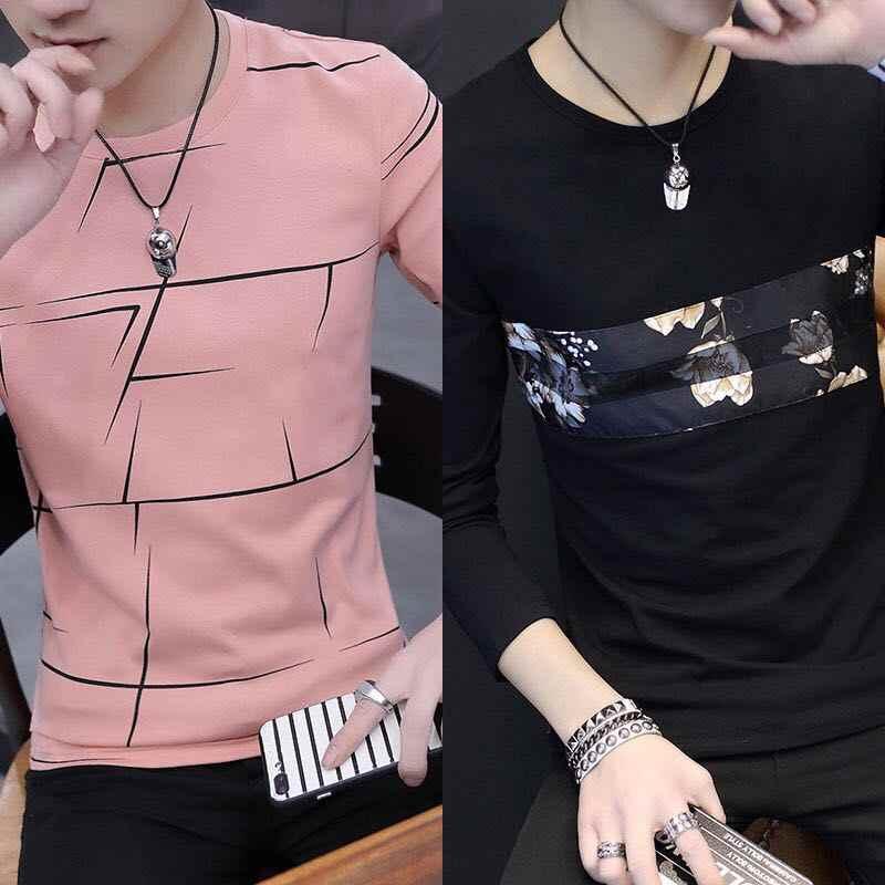 男性の Tシャツ長袖 tシャツラウンド襟と底シャツ長袖 tシャツ男性パックの 2