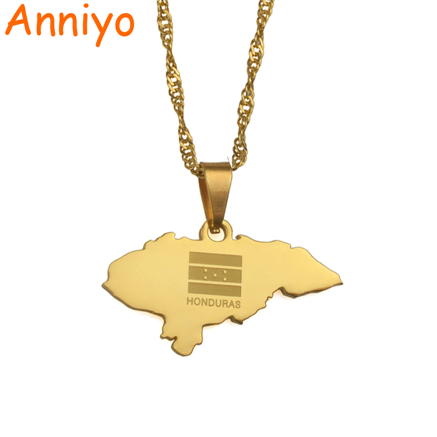 Anniyoc Small Size Honduras Map Pendant Necklaces for Women Gold Color Charm Maps Jewelry Patriotic Best Gifts #017421 american flag patriotic string swimwear
