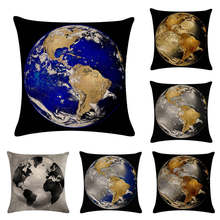 Earth Planet Throw Pillowcover Cover Astrophile Gift Two Sides Luxury Print Hidden Zipper Pillowcase(China)