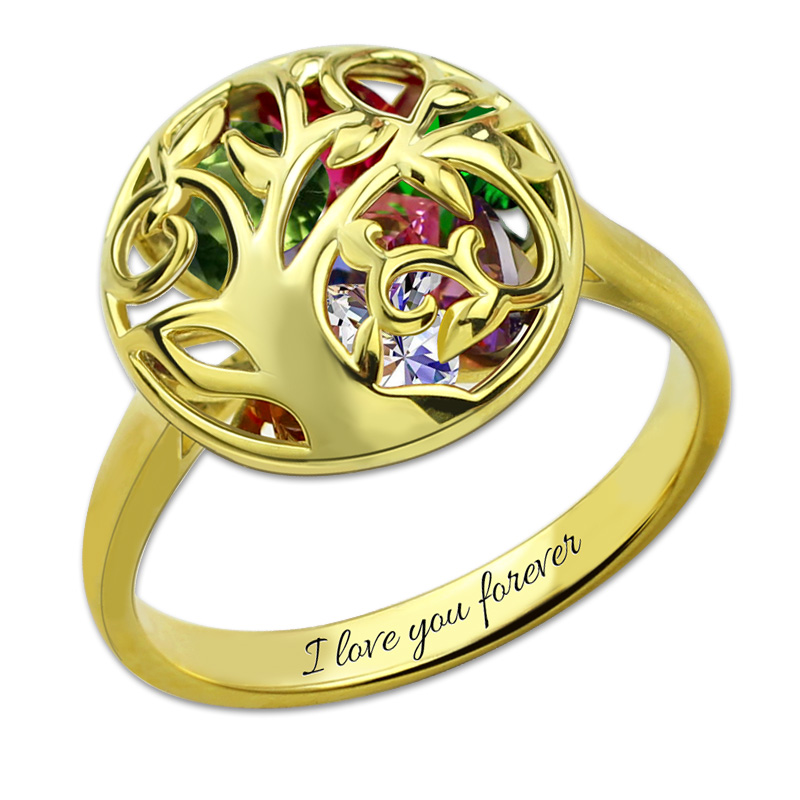 AILIN Heart Birthstone Cage Ring Custom Family Tree Ring Gold Color Ring For MomAILIN Heart Birthstone Cage Ring Custom Family Tree Ring Gold Color Ring For Mom