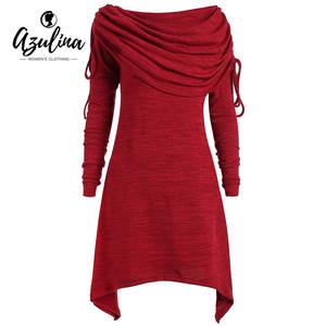 cd2260ecb74 AZULINA Plus Size Women Red Black T-shirt Dress Casual Long