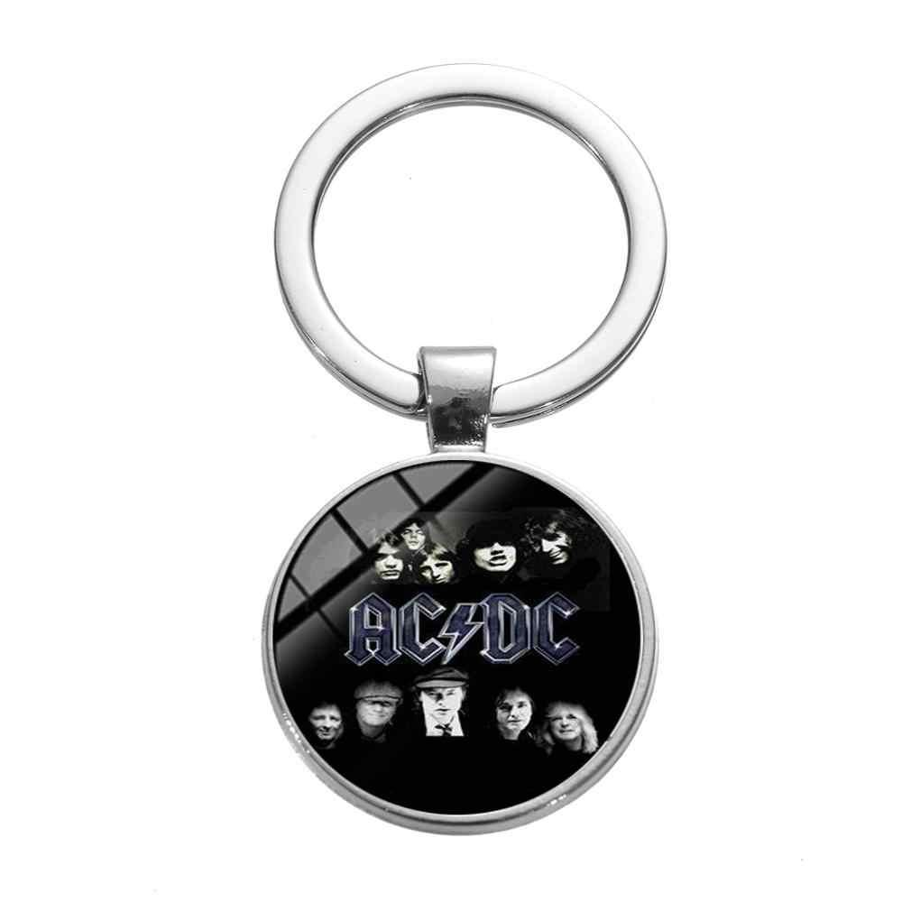 SONGDA Pop Rock Band AC/DC Keychain Hip Hop Do Punk Na Moda Logo Impressos Tempo Gem Cadeia Chave Do Carro de Metal suporte para Os Fãs de Música Llaveros