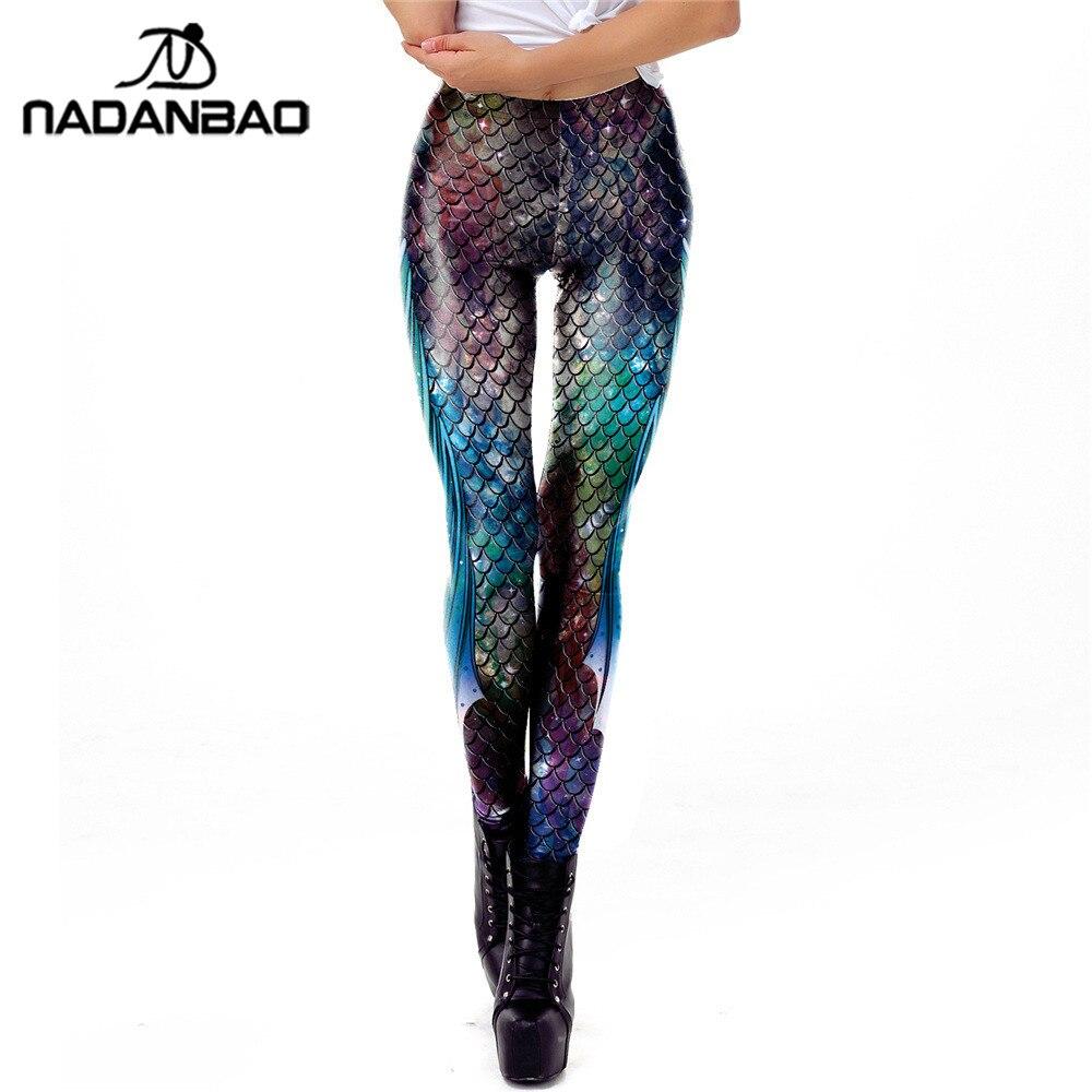 NADANBAO Galaxy Mermaid Leggings Women Workout Fitness Legging Colorful Fish Scales Printed Leggins Plus Size