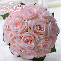 2018 Pink Artificial Rose Flowers Bridesmaid Wedding Bouquets With Ivory Ribbon Pearls Casamento Pageant Bridal Accessories