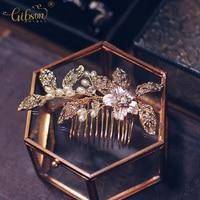Gibson Bridal Headpiece Rhinestone Leaf And Pearl Bridal Headpiece Bridesmaids Dress Gold Hair Accessories Side Comb