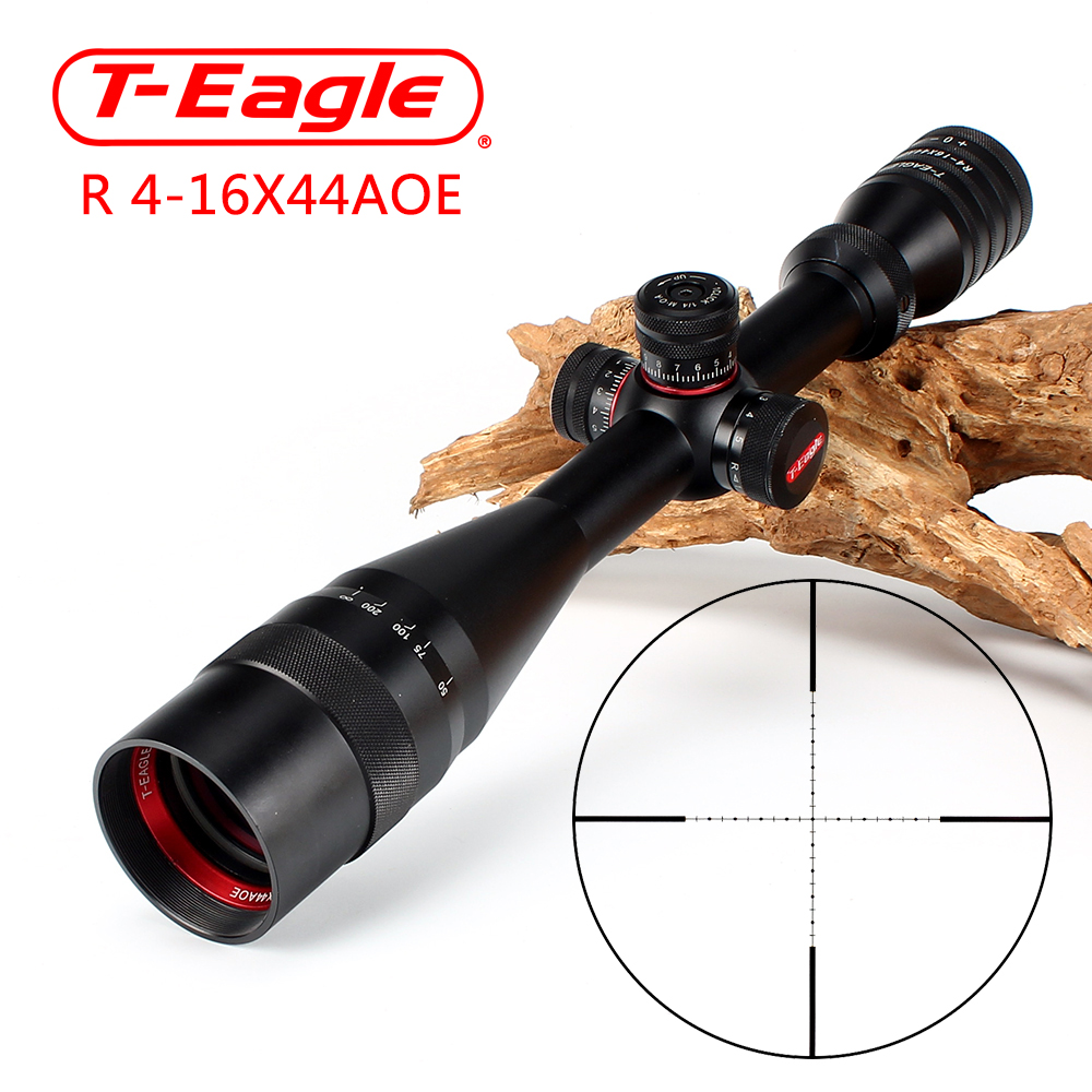 T-Eagle R 4-16X44 AOE Hunting Riflescopes 1/2 Mil Dot Reticle Red Green Illuminated Turrets Lock Reset Full Size Rifle Scope hunting ohhunt 2 5 10x40 aoir optics riflescopes half mil dot r g b illuminated reticle turrets lock reset full size rifle scope