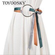 2018 New Arrival Women Top Designer Belts Woman For Dress Ceinture Femme Wide Silk Belt  with Big Round Buckle TOYOOSKY