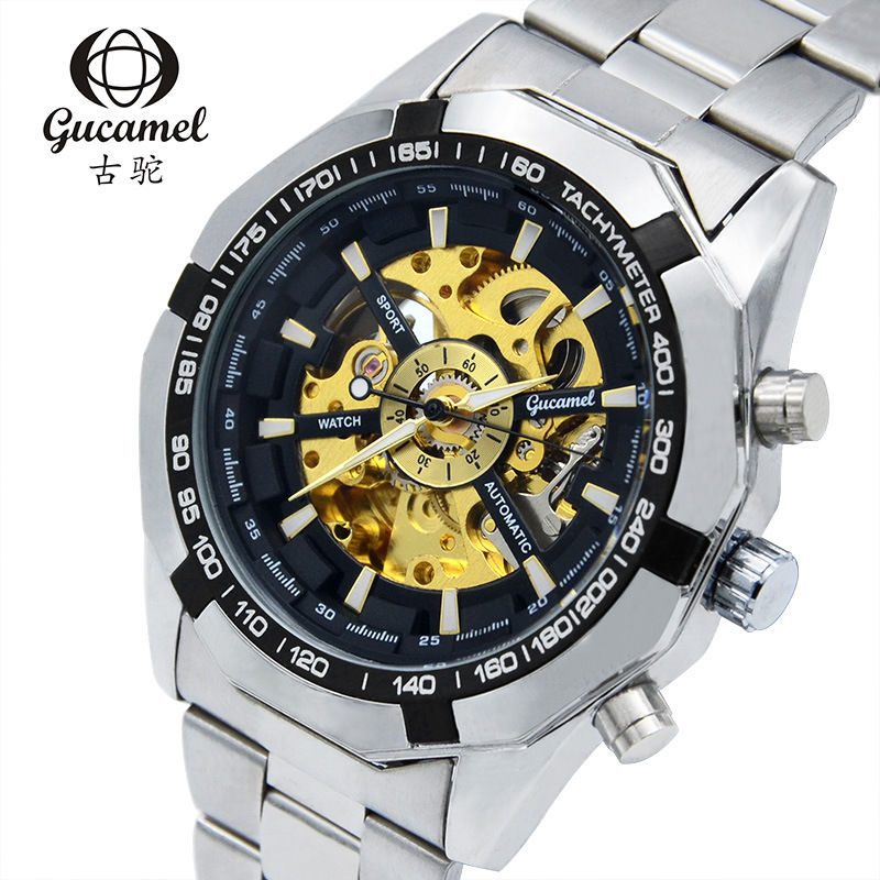 GUCAMEL Brand Luxury Mens Skeleton Automatic Mechanical Watch Military Hollow Stainless Steel Band Male Sport Gold Wristwatches brand new business watch men hollow engraving black gold case stainless steel watches skeleton mechanical automatic wristwatches
