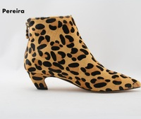 New arrivals leopard winter ankle boots pointed toe low thin heel woman classic short boots celebrity woman shoes high quality