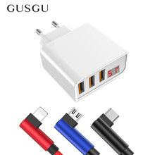 GUSGU EU Plug 3 Ports Desktop USB Charger LED Display Wall Power Adapter For iPhone iPad For Samsung S9 With USB Cable
