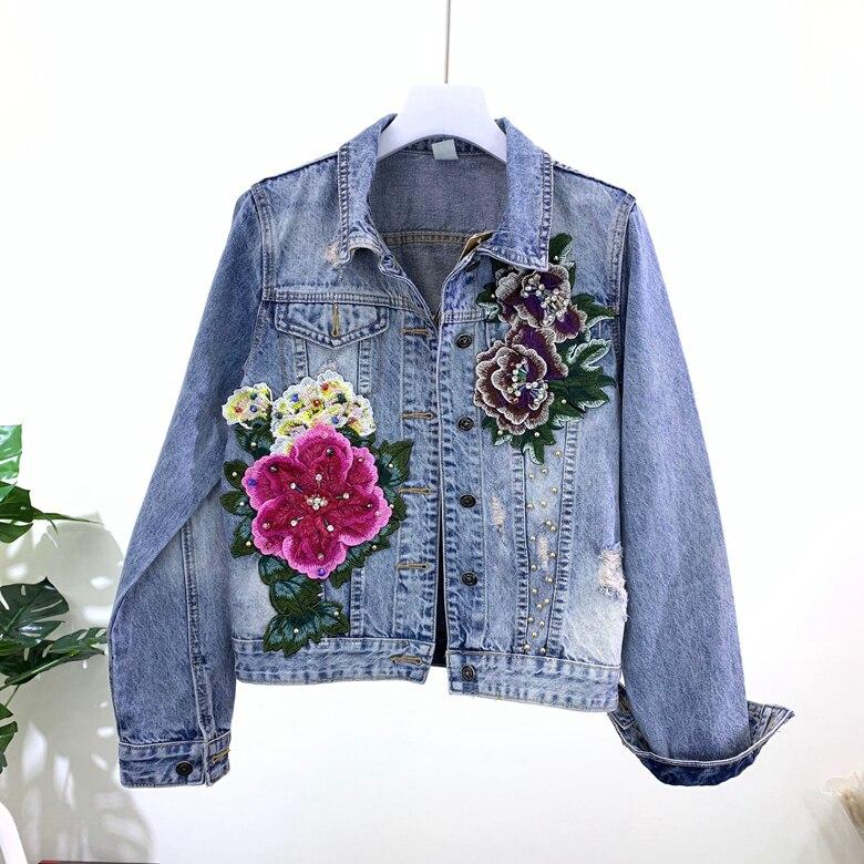 2020 New Heavy Industries Hole-breaking Jean Jacket Woman Stereo Flower Jeans Coat Jackets Women Slim Cowboy Coats Outwear Femme