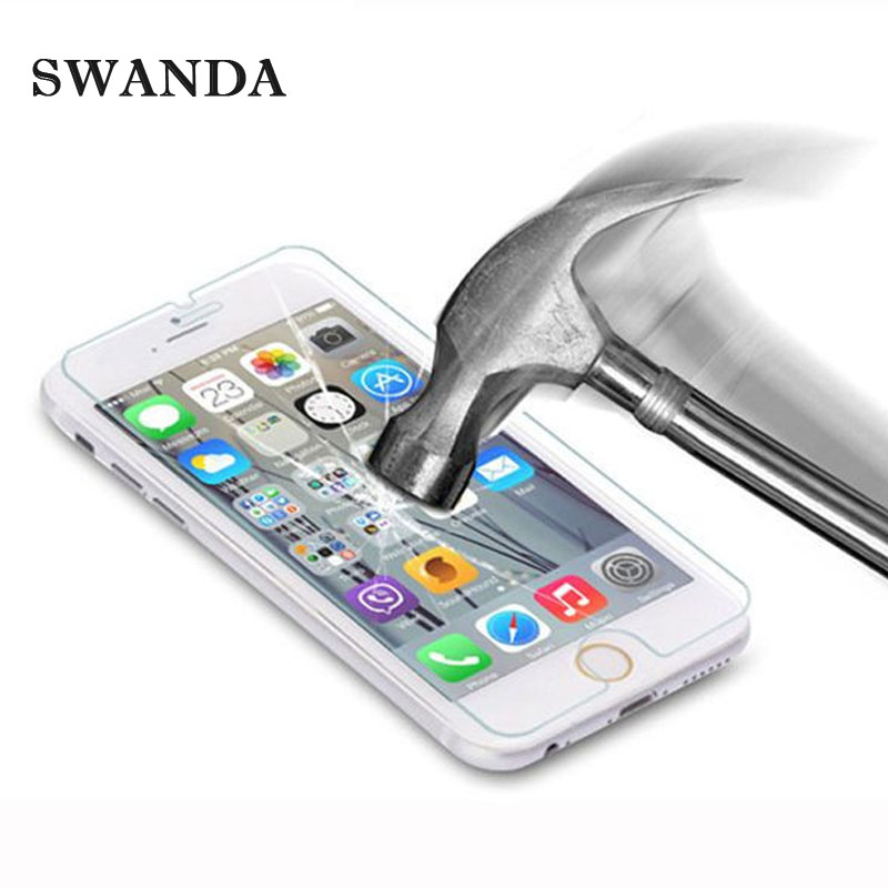 SWANDA for iPhone 5S Tempered glass for iPhone 6 6S 7Plus Screen protector glass film for iPhone 5 SE 5C 4 Explosion proof film