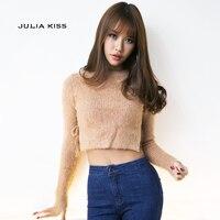 여성 섹시한 퍼지 자른 스웨터 만나요 스타일 넥타이 측면 긴 소매 자른 뜨개질 탑 리브 스웨