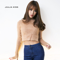 Women Sexy Fuzzy Cropped Sweater Gigi Style Tie Sides Long Sleeve Cropped Knitting Tops Ribbed Pullovers