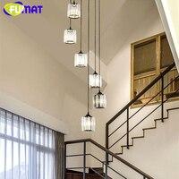 Фумат Кристалл K9 Лестницы вращения люстры, потолочные светильники подвесные светильники Светодиодный светильник Современный американски