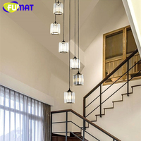 FUMAT Crystal K9 Stairs Rotation Ceiling Lamps Chandelier Lighting Hanging Lights LED Fixture American Modern Style Villa Stairs