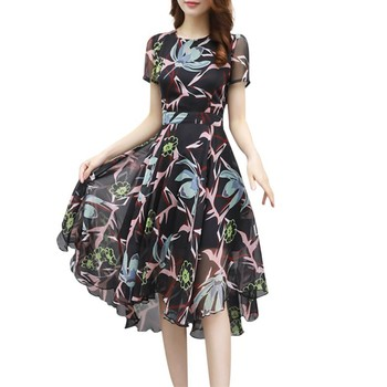Sexy Long Maxi Beach Dresses Women Dress Vintage Floral Chiffon Wrap Dress Short Sleeve O Neck High Low Plus Size Vestidos floral chiffon dress long sleeve