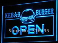 I167 ABERTO Kebab Burger Fast Food Cafe LED Neon Sign On/Off Switch 20 + Cores 5 Tamanhos