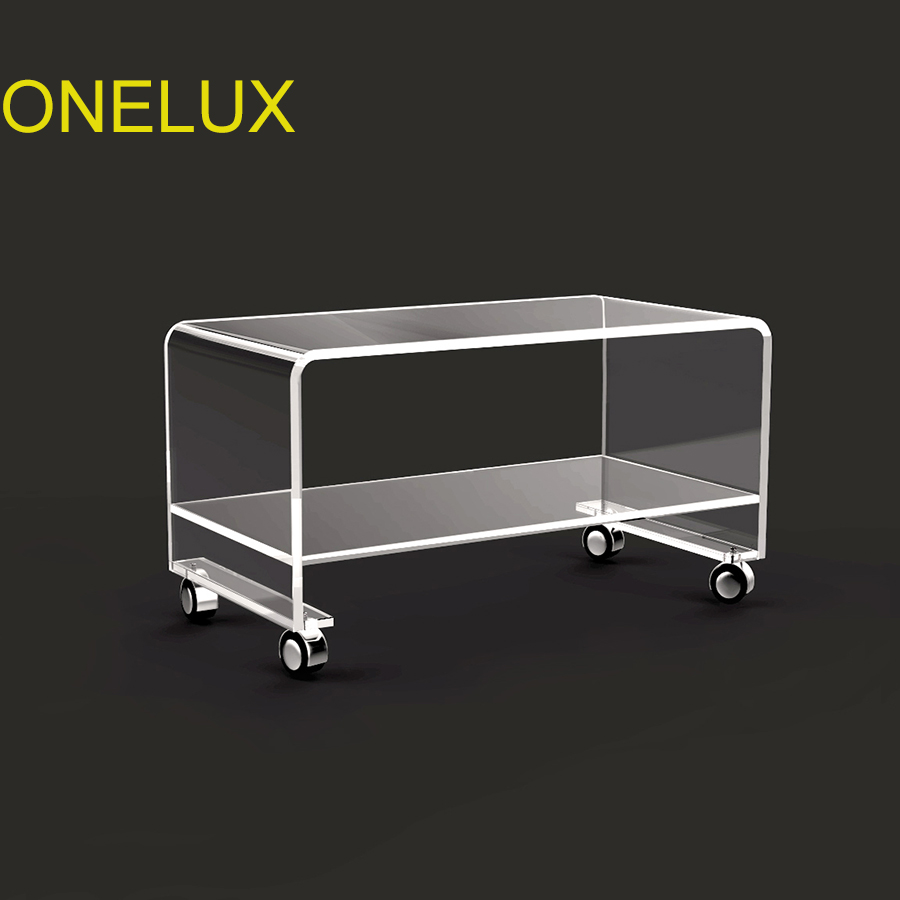 Купить с кэшбэком Clear Waterfall Acrylic Rolling TV  Stand On Wheels,Lucite Occasional Side coffee Tea Tables-2 Size Options