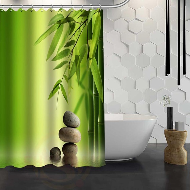 Hot Sale Custom Flowers Spa Zen Flowers Stones Shower Curtain Waterproof  Fabric Shower Curtain For Bathroom