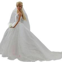 Elegante Weiße Prinzessin Abendgesellschaft Kleider Trägt Lange Kleid Outfit Set für Barbie-puppe mit Schleier Heißer Verkauf