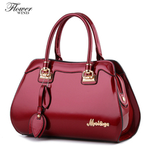 FLOWER WIND Fashion Glossy Skin Designer Split Leather Bags Women Handbag Brand High Quality Ladies Shoulder Bags Women Bags