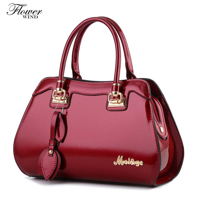 FLOWER WIND Fashion Glossy Skin Designer Split Leather Bags Women Handbag Brand High Quality Ladies Shoulder Bags Women Bags