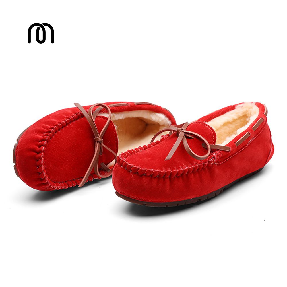 Millffy new 2017 Comfort Sharp Flats handwork double-faced pile peas moccasin gommino winter lady shoes with real fur Loafers