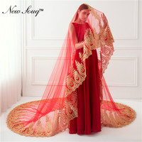 Cathedral Wedding Veil Red Bridal Veil With Gold Applique Wedding Accessories 2019 Voile Mariage 3.5 Meters Long Veil Cheap