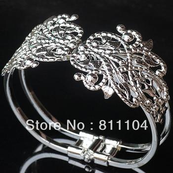 65mm New Silver Plated Brass Blank Bases Hollow Filigree Bezel Flower cuff Bracelet Bangle Settings Wholesale