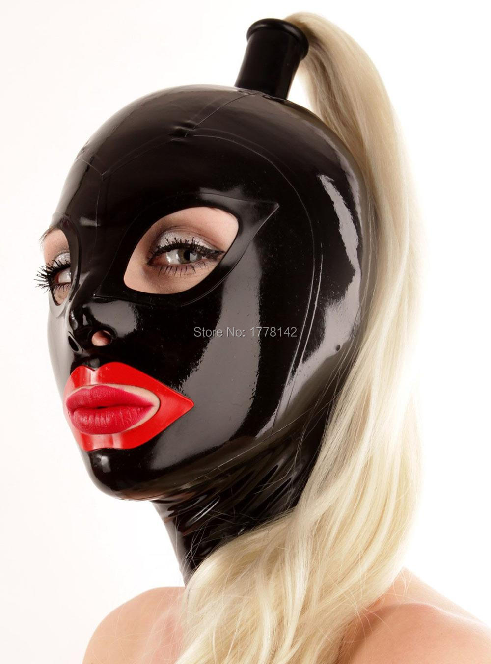 Gummy rubber mask Inflatable latex hood with anime eyes and lips custom color