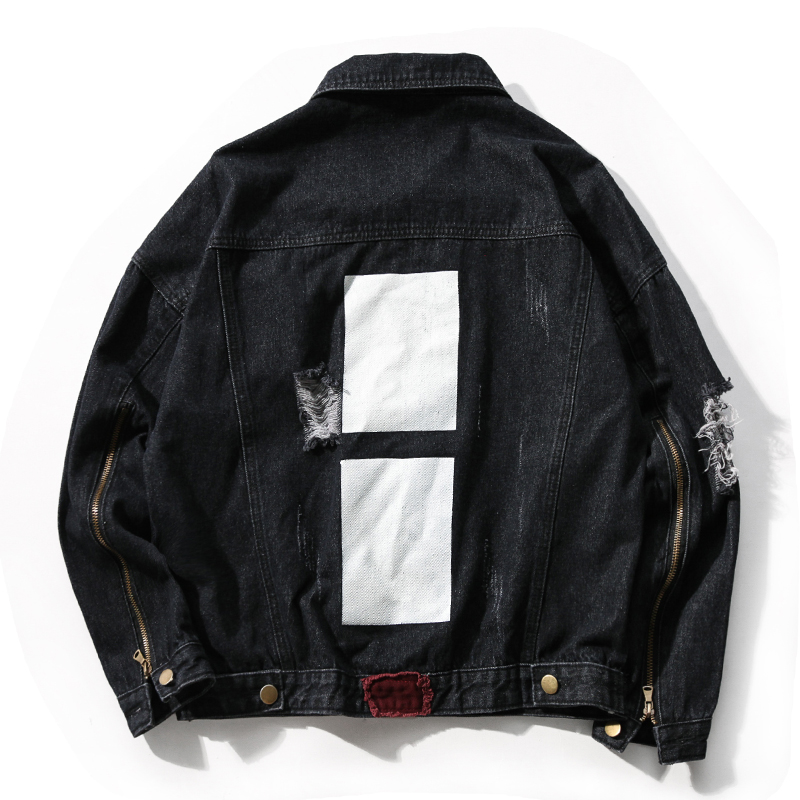 Black Men's Jeans Jacket White Patch Ripped Holes Denim Jacket Coat Male Jean Windbreaker Fashion 2017 Hip Hop Bomber Jacket Men