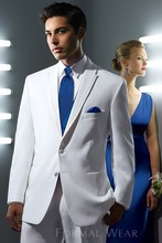 Fashionable Two Button White Groom Tuxedos Groomsmen Men's Wedding Prom Suits Custom Made (Jacket+Pants+Vest+Tie) K:81